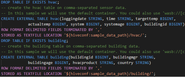 HDInsight Tools for Visual Studio Code syntax highlights